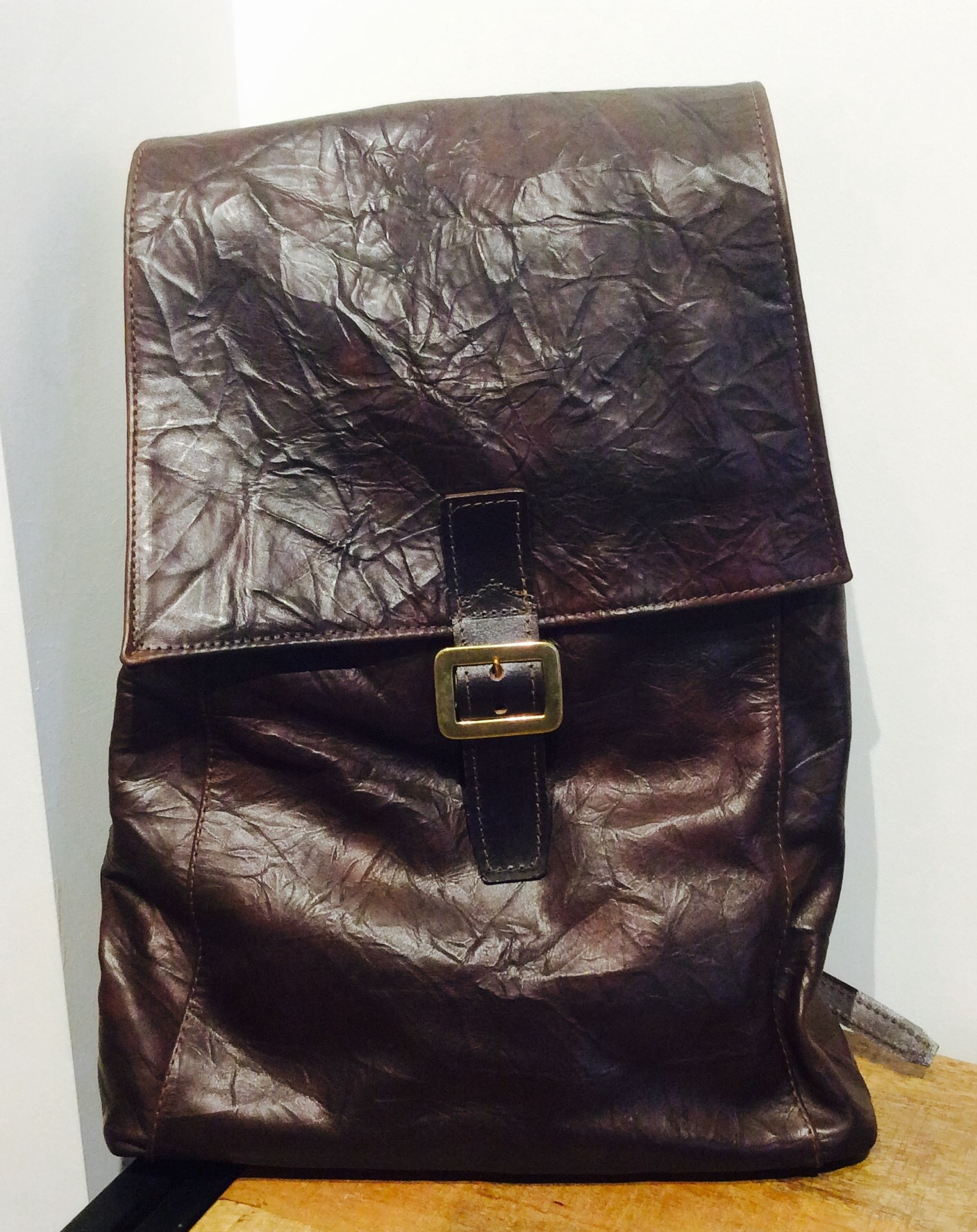 Brown Textured Italian Leather Back Pack