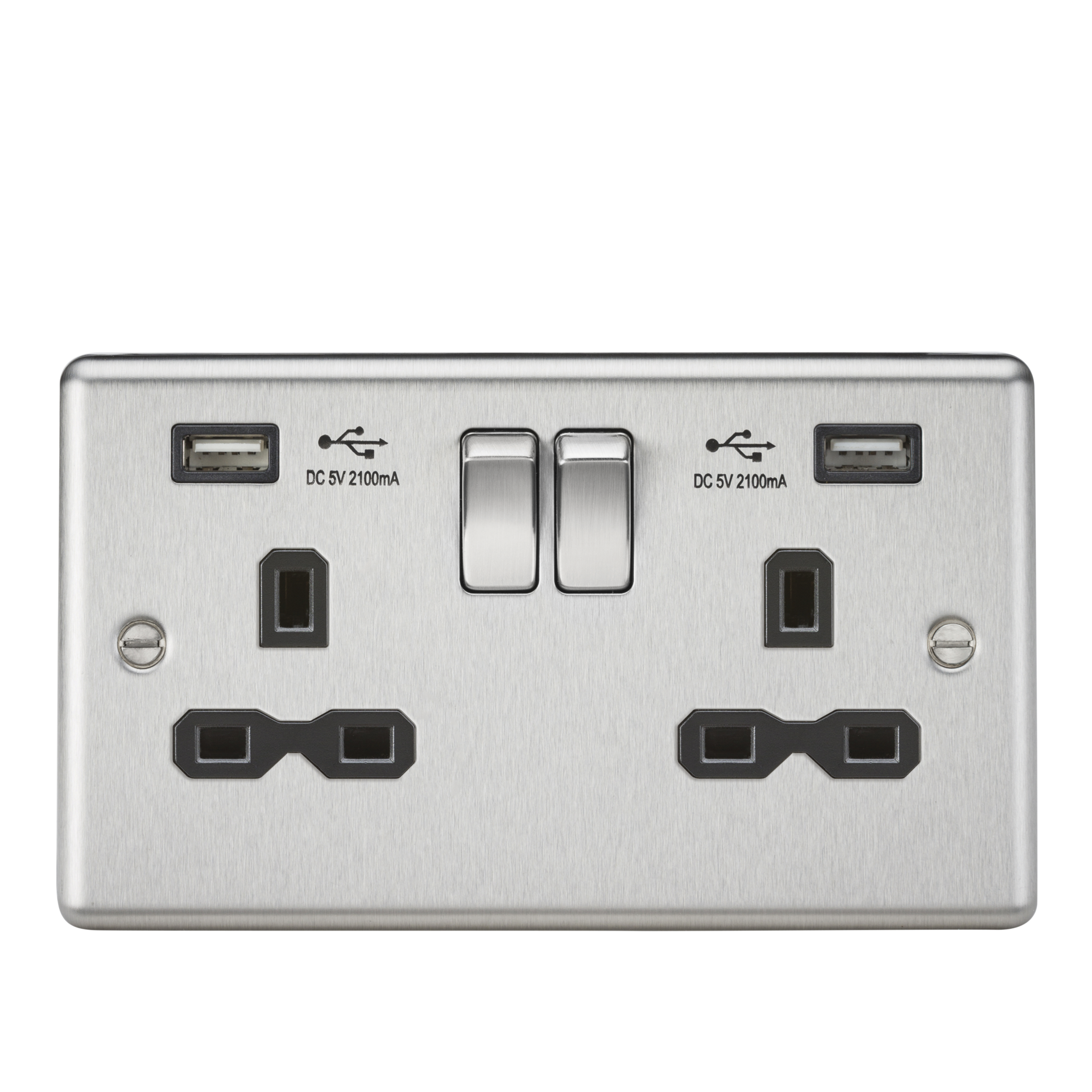 13A 2G SWITCHED SOCKET, DUAL USB CHARGER SLOTS W/BLACK INSERT - ROUNDED EDGE BRUSHED CHROME