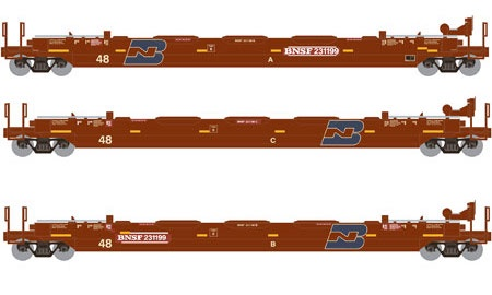 Athearn #ATH5887 HO 48' Husky Stack Cars (3pack)