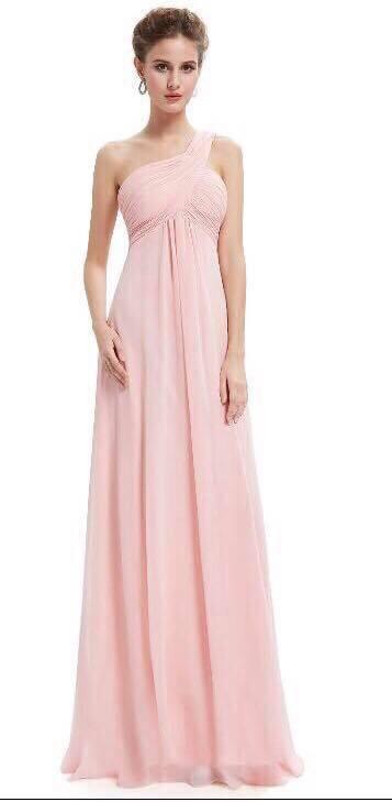 Floor Length Gown - Pink 1-Shoulder Bridesmaids Empire Dress
