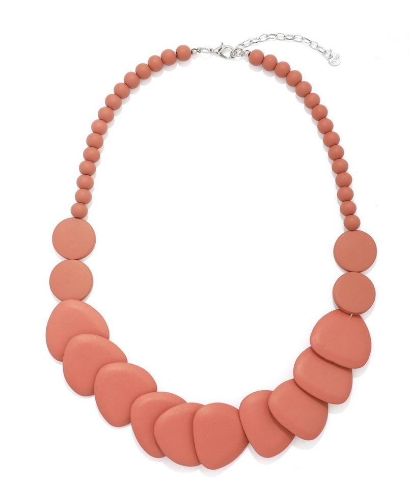 Alana large flat irregular shape  wooded  necklace  Orange
