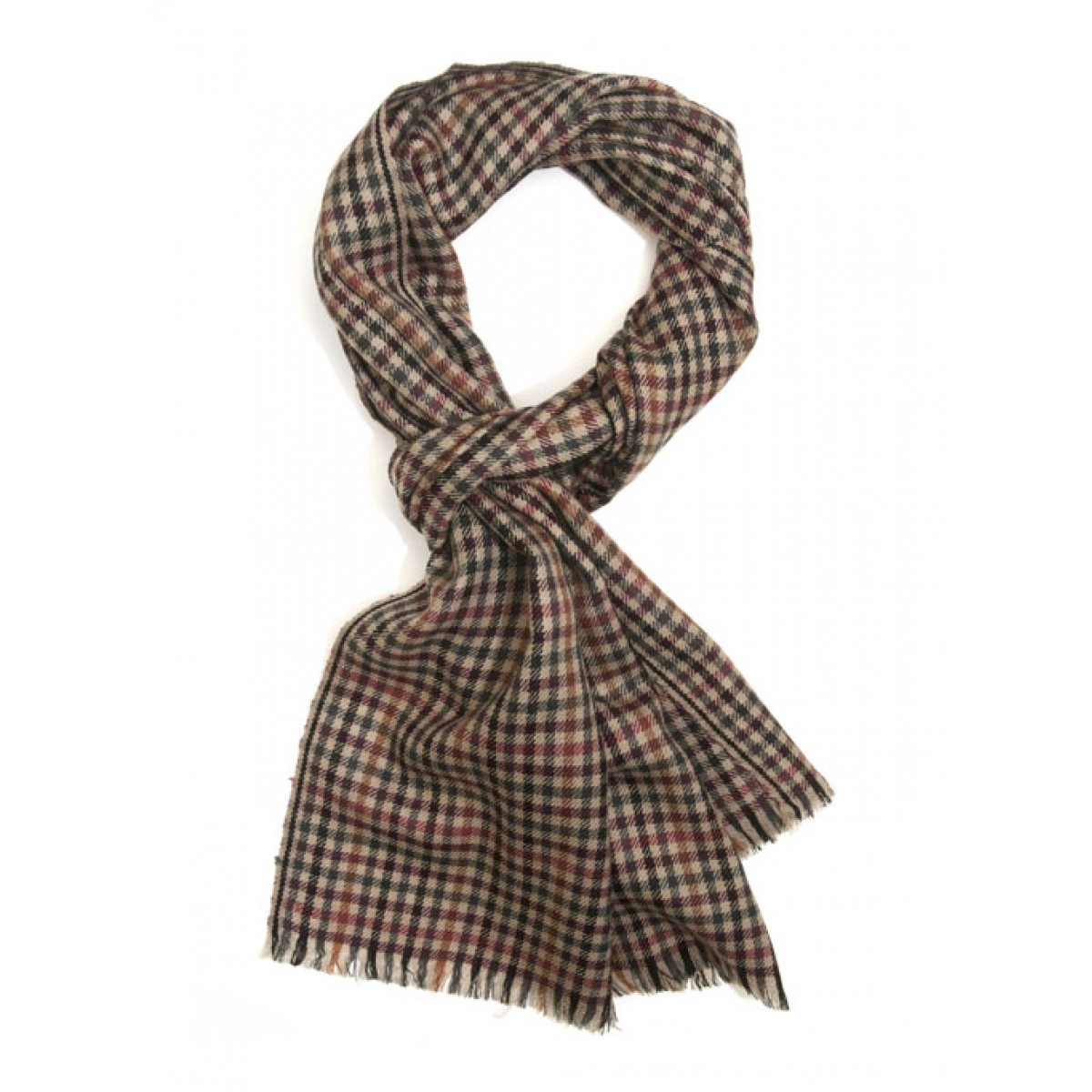 Parc City Boot Co. - Micro Wool Scarf in Tan Gun Check