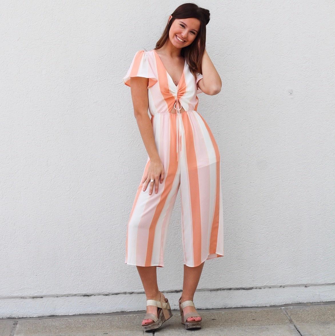 Peach/Wht Stripe S/S Jumpsuit w Keyhole Front
