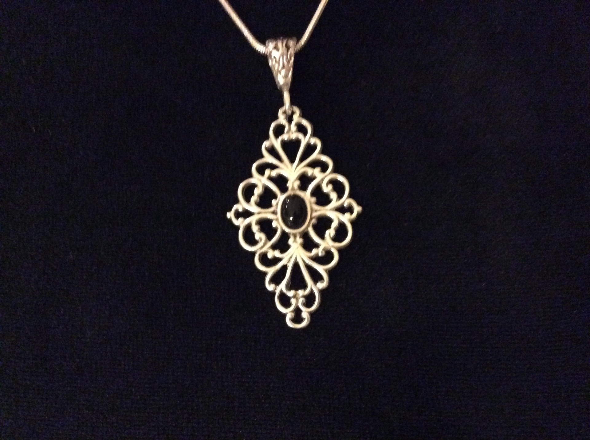 Sterling Silver Filigree Pendant with Onyx