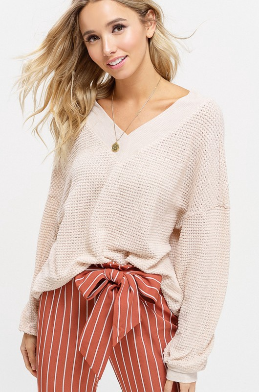 V Neck Waffle Top w Ribbed Detail