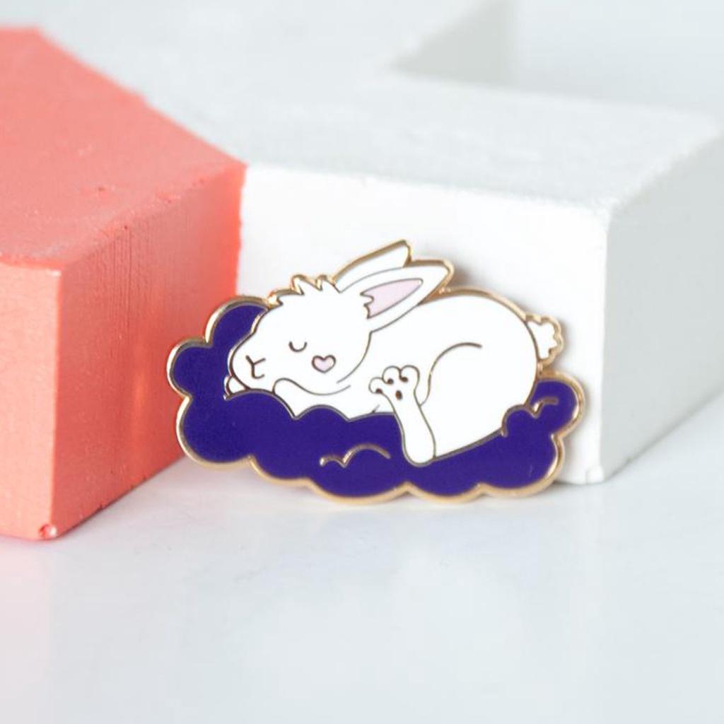 Sleeping Bunny Cloud Enamel Pin