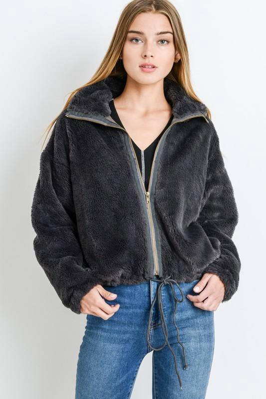 Charcoal Soft Fur Jacket