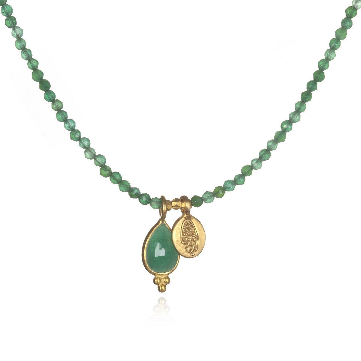 Abundance Hamsa Gold Necklace | Emerald & Green Onyx