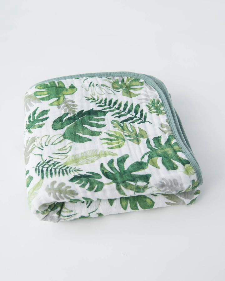 Cotton Muslin Quilt | Tropical Leaf