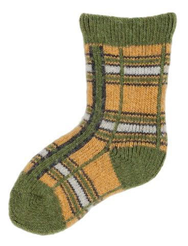 LISA B. - BABY WOOL+CASHMERE PLAID SOCKS PERIDOT