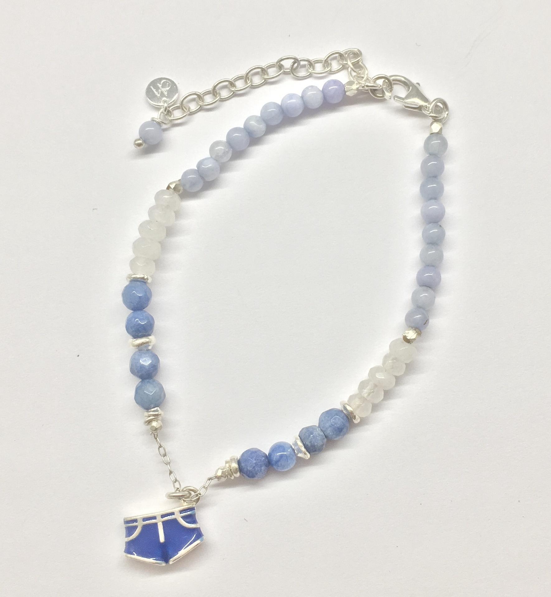 Annabella Moore- Blue shorts jade bracelet
