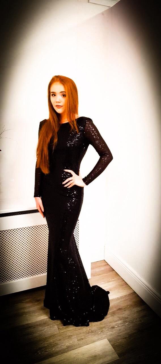 Black open back sequin fishtail floor length dress