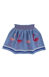 Applique hem skirt flamingo