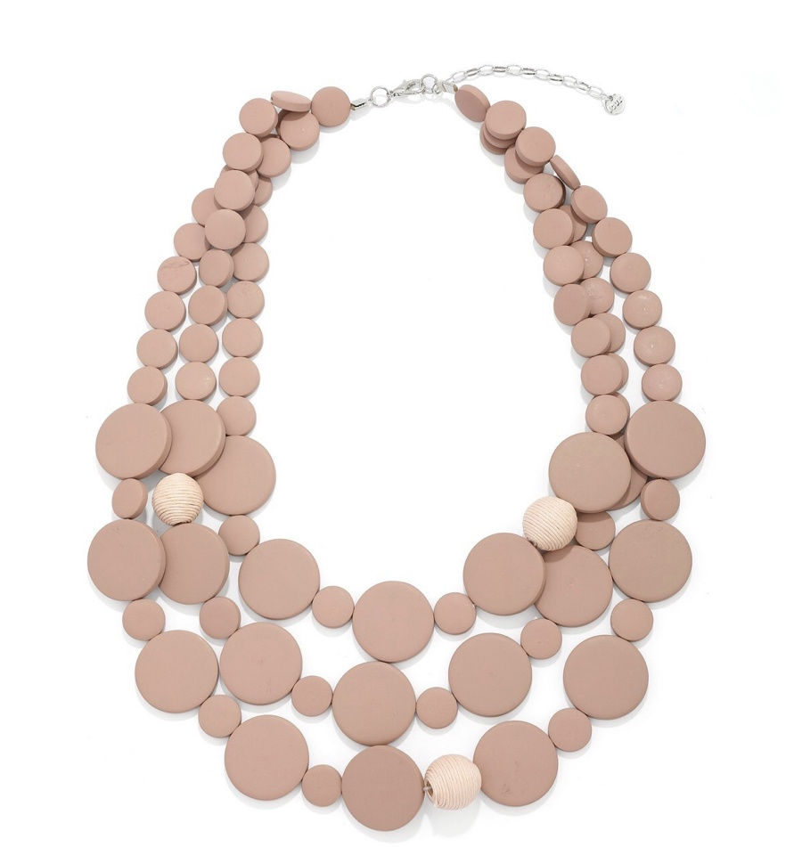Jasmine wood bead statement necklace Nude