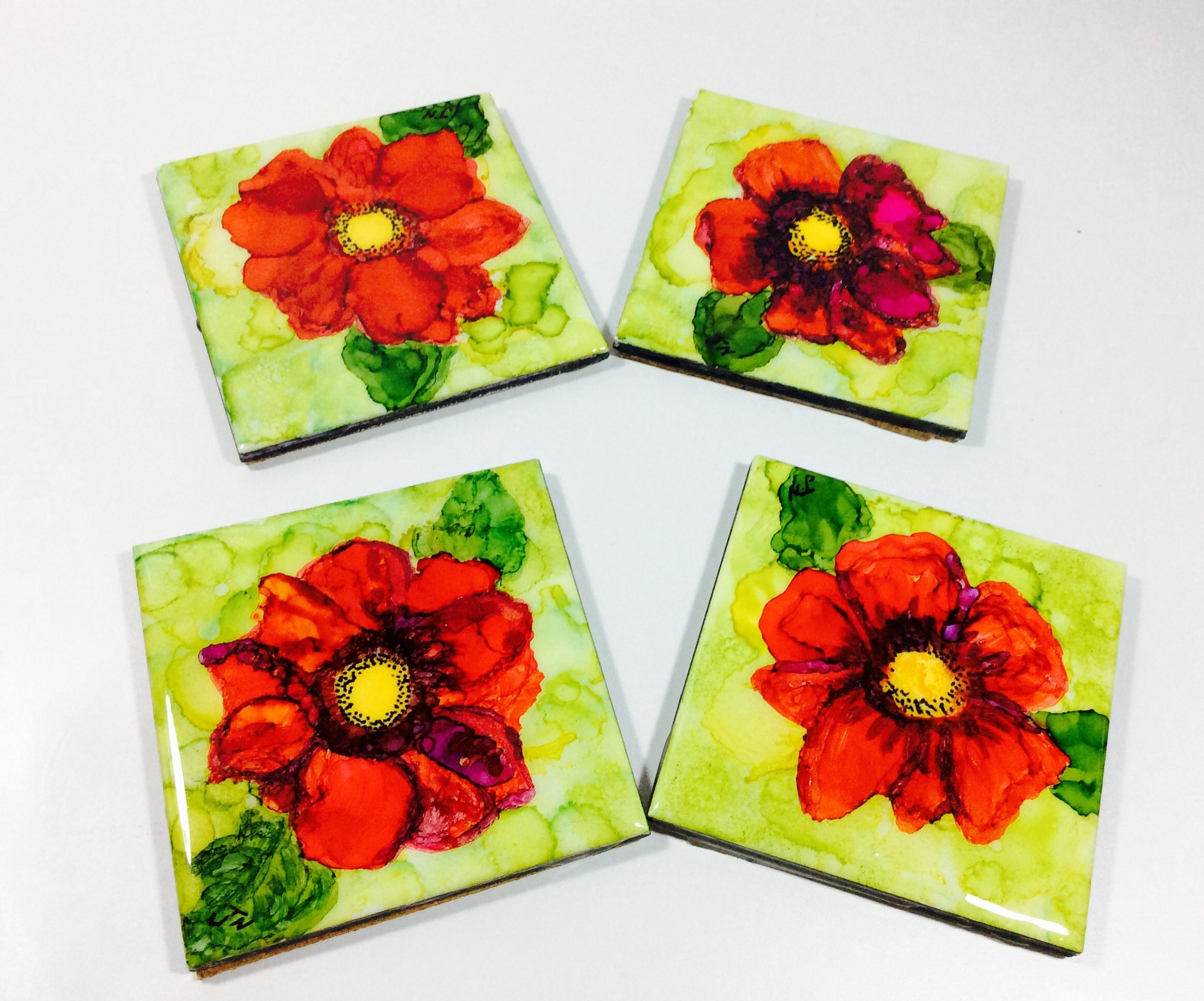 Set of Four Hand Painted Ceramic Tile Coasters