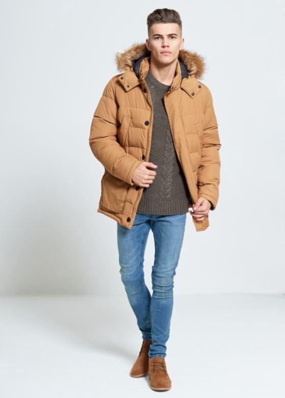 Menswear Camel Fur Hooded Puffa Jacket