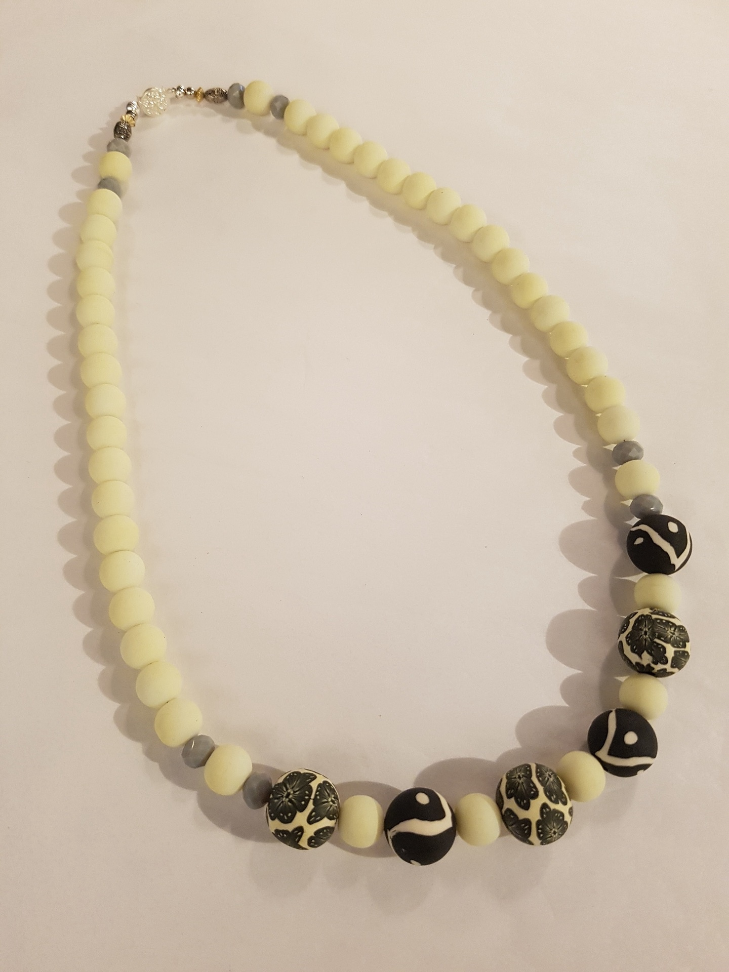 Pale Yellow and Black Necklace
