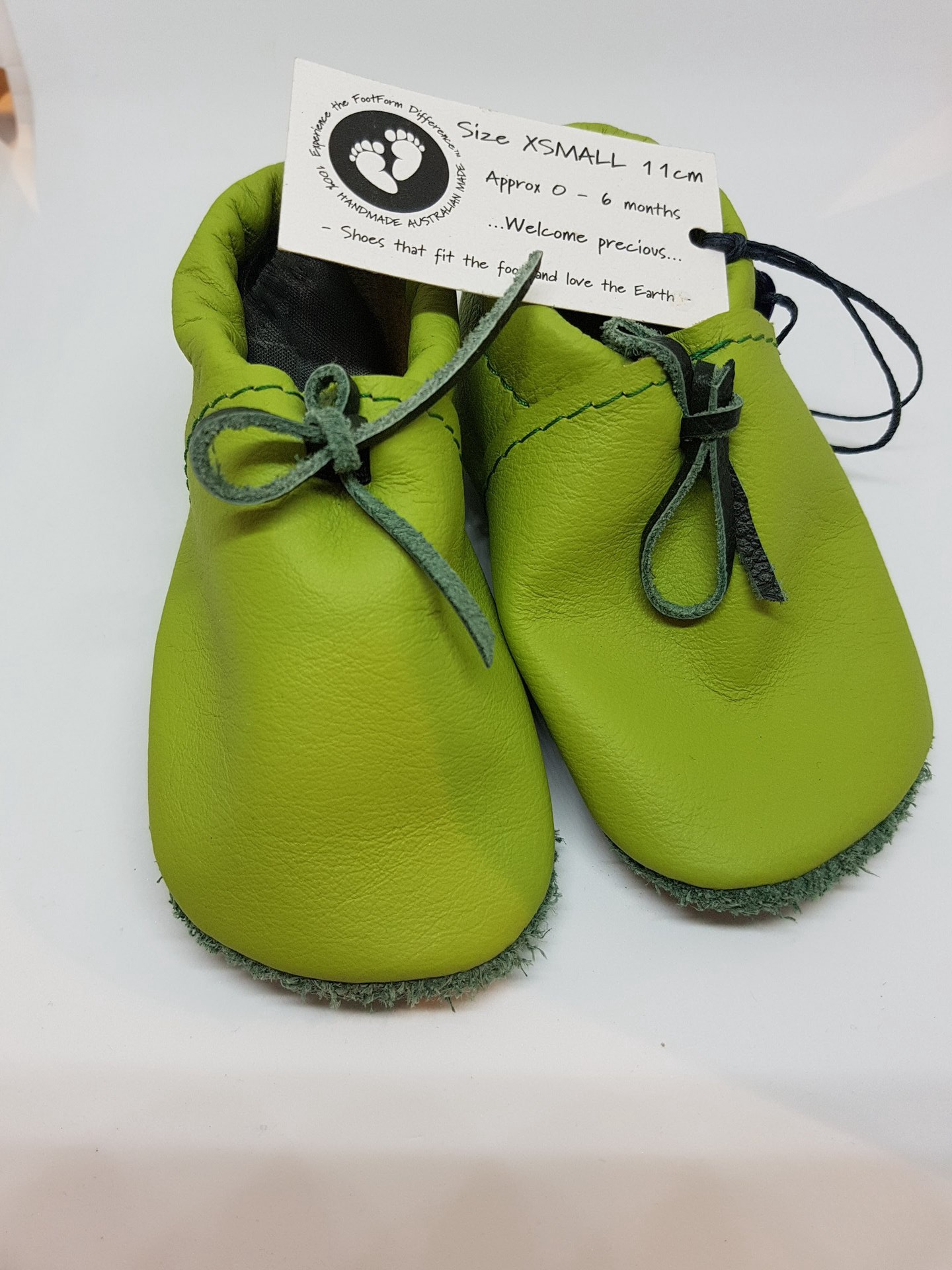 Apple Green Leather Moccasins - fit approx 0-6 months