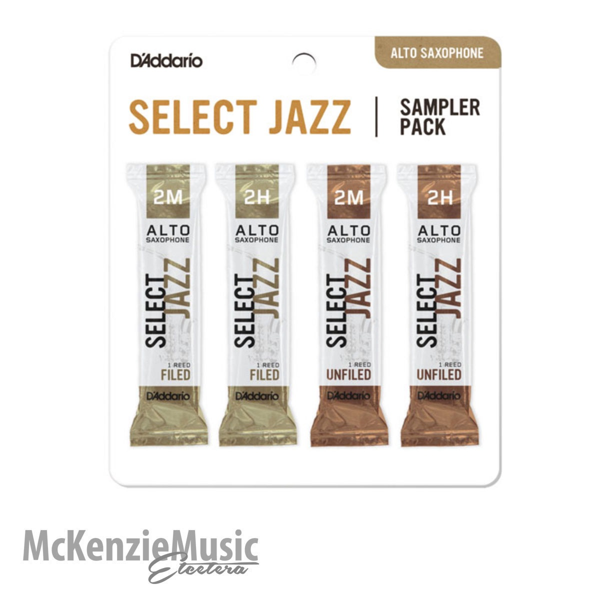 D'Addario Select Jazz Alto Sax Reed Sample Pack Size 2