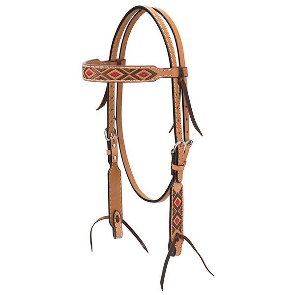 Turquoise Cross Navajo Diamond Embroidery Headstall