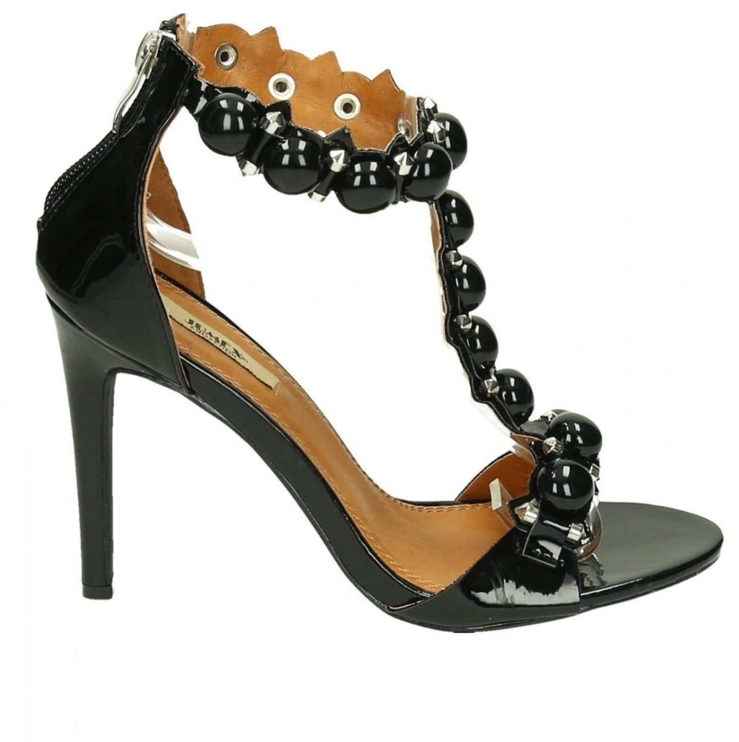 High Heel - Black Studded Open Toes Shoes