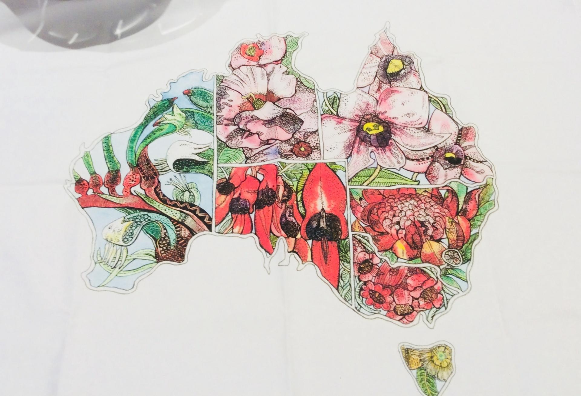 Floral Emblem Australian Map Tea Towel