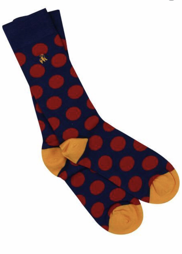 Red polka dot bamboo socks