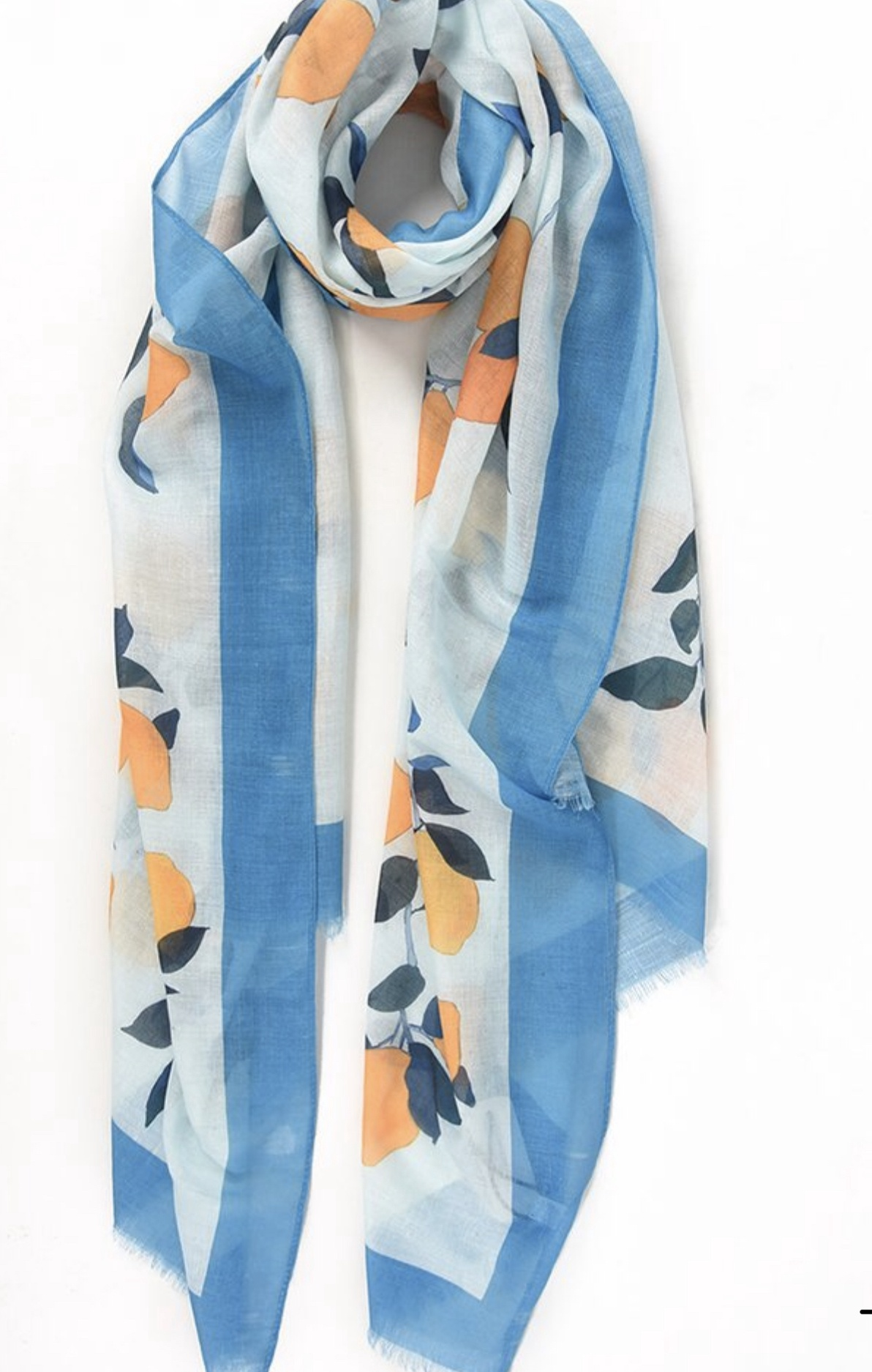 Light Blue Boarder scarf with illustrated lemon print