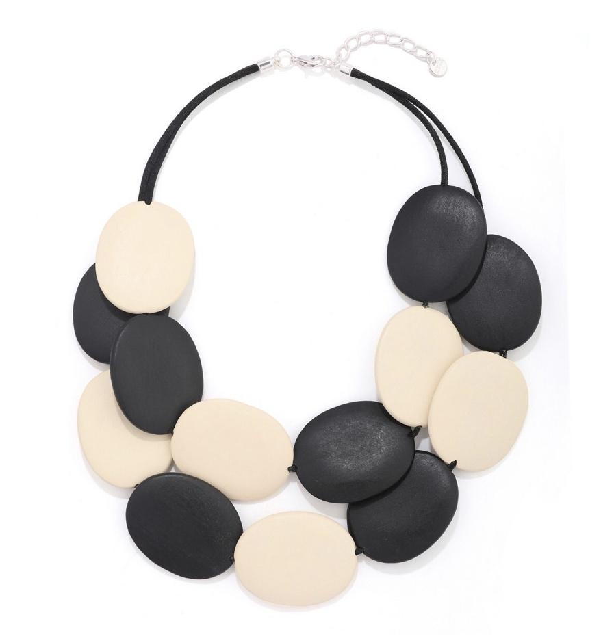 Wooden Black & Cream Statement Necklace