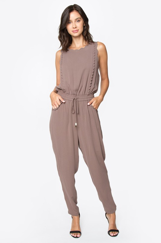 Mocha Jumpsuit w Scallop Trim