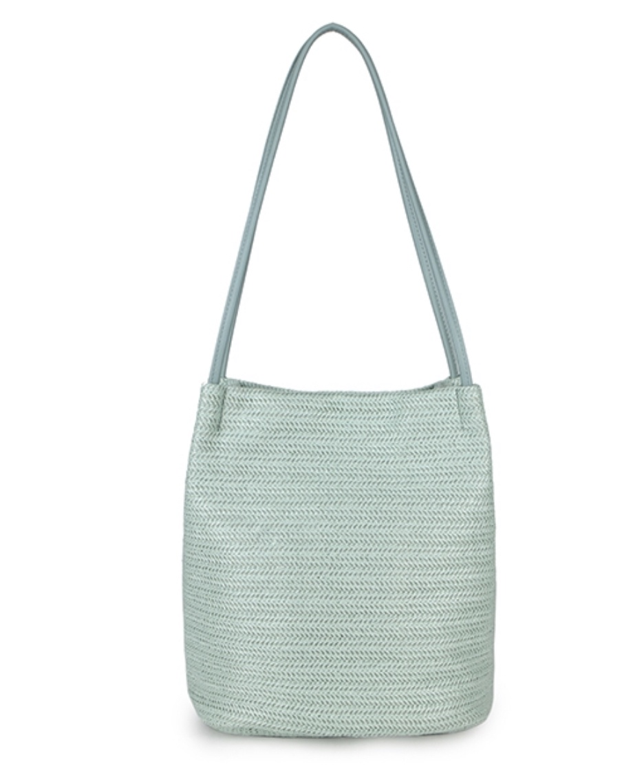 May Mint Green Weave Bucket Bag
