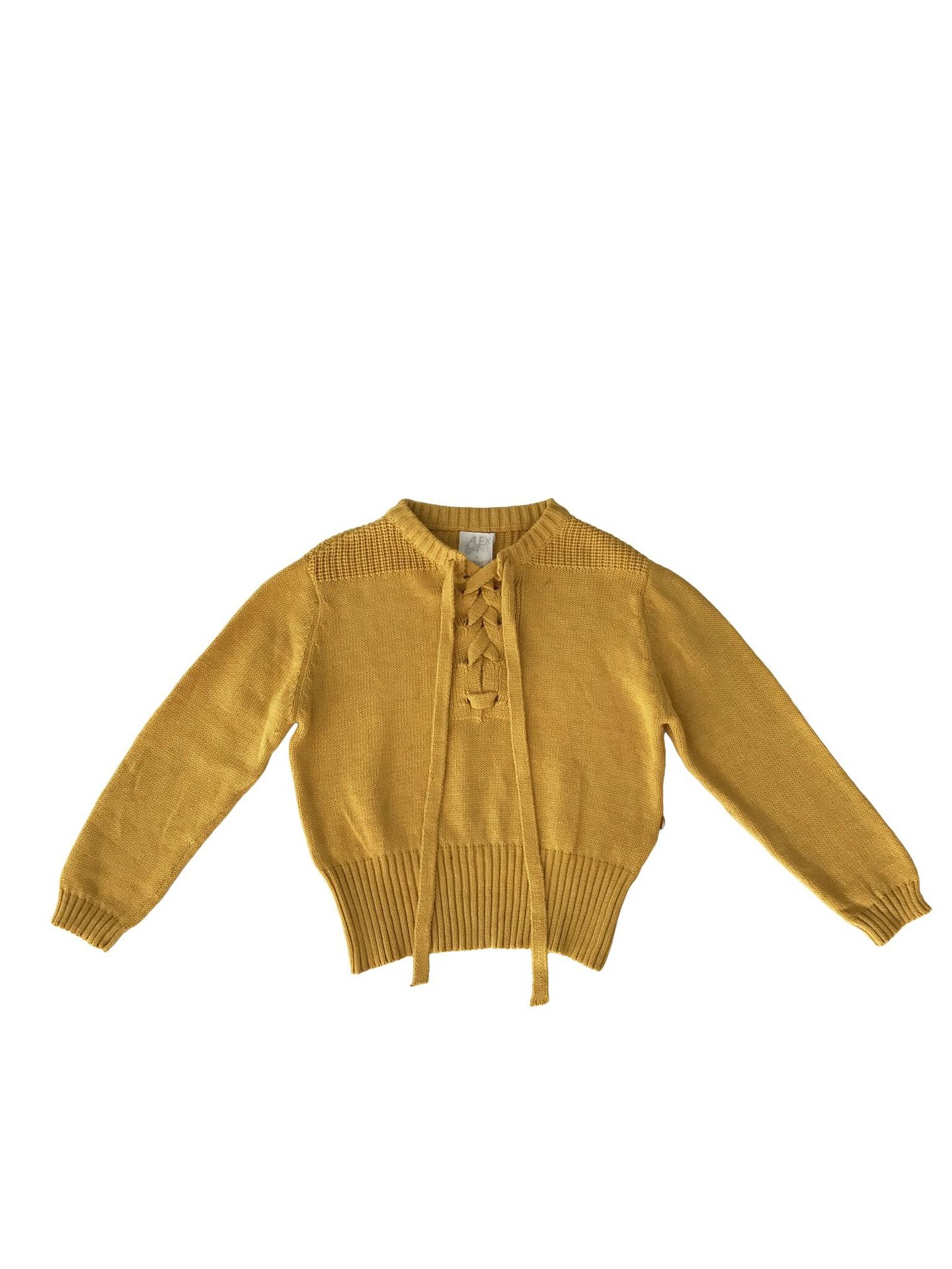 Alex and Ant Tie up Sweater Mustard