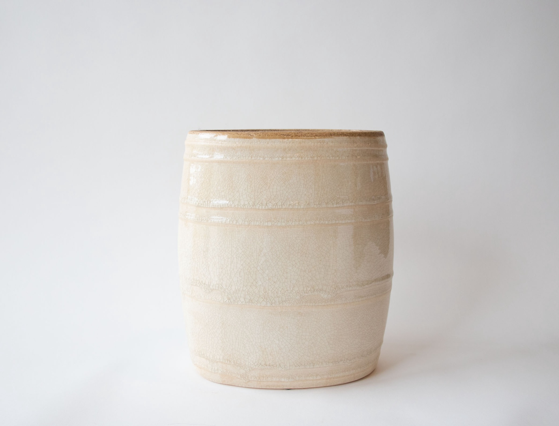 Cream Ceramic Drum Vase