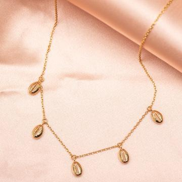 Girls Crew Coffee Bean Shell Necklace Gold