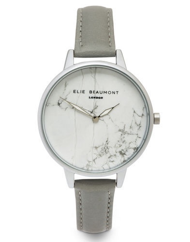Elie Beaumont Watch Leather Strap Marble