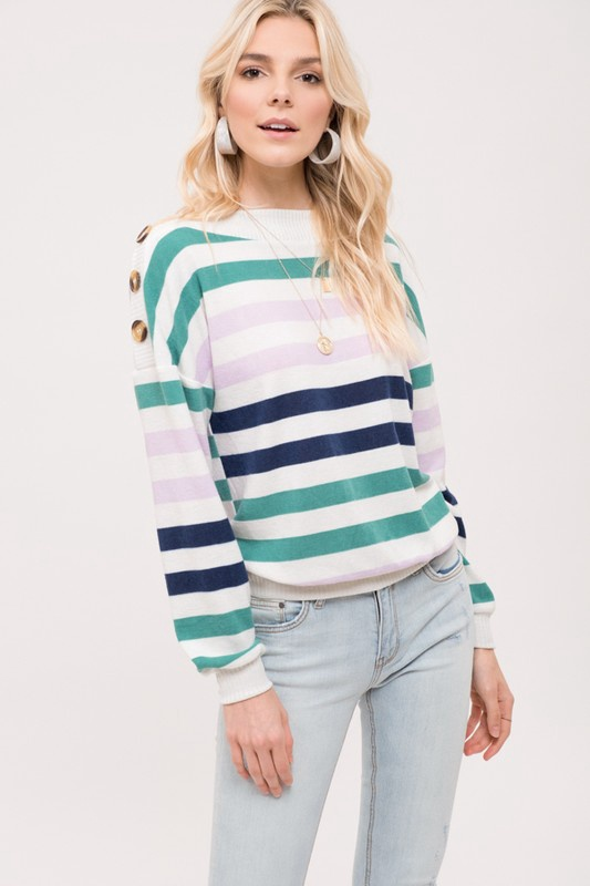 Wht/Lav/Navy Stripe Top w Buttons on Shoulds