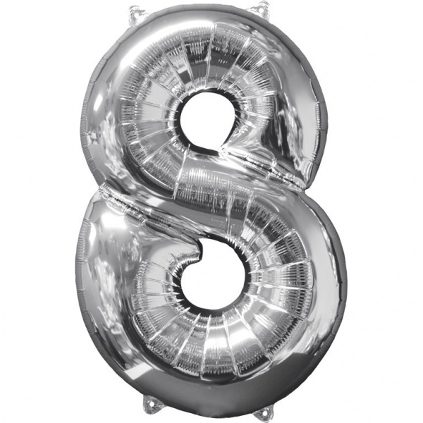 NUMBER 8 SILVER BALLOON 34 INCH