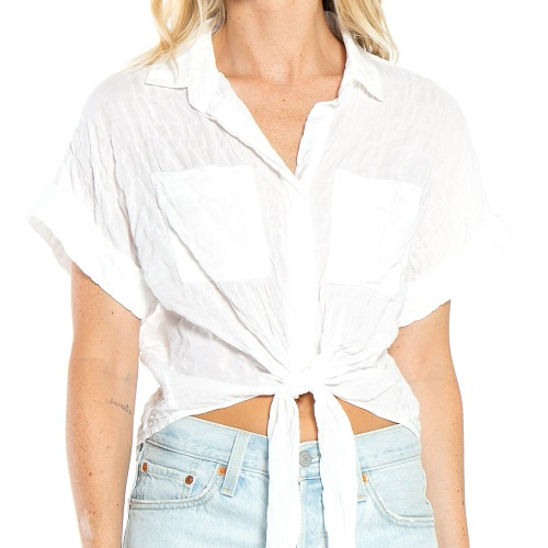 Cap Sleeve Tie Up Shirt