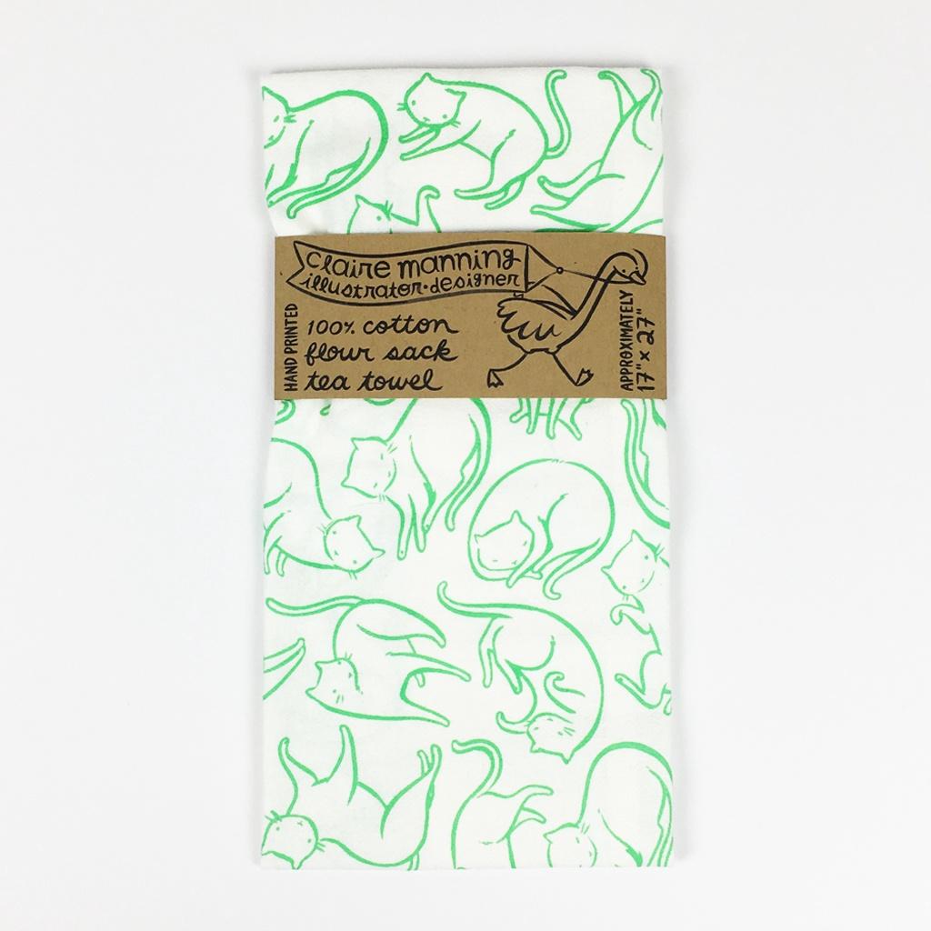 Floating Cats Tea Towel