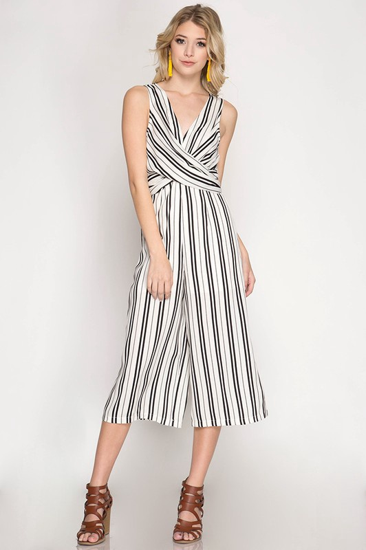 Slv/less Striped Jumpsuit