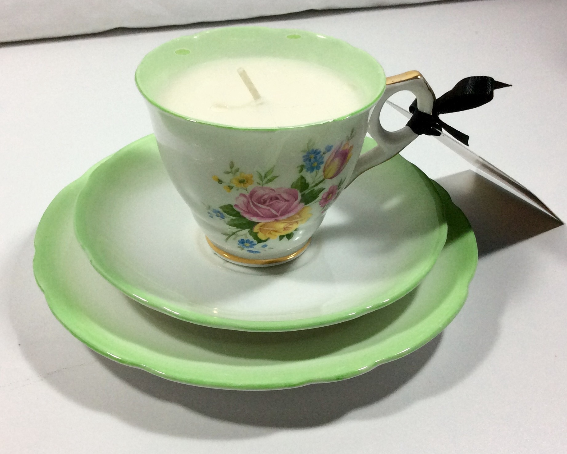 Vintage Tea Cup Candle - Royal Stafford Bone China Trio - Bamboo & Lily
