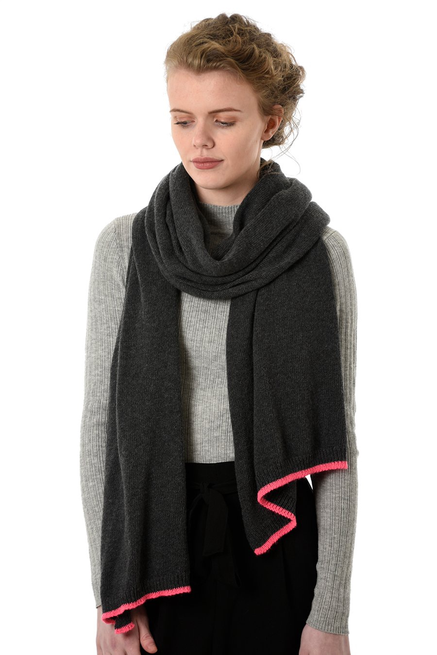 Cashmere mix scarf with neon trim 6035