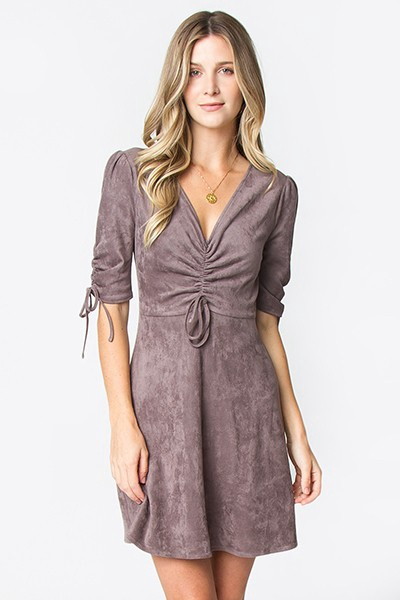 Charcoal Fit Flare Scrunch 3/4 Slv Suede Dress