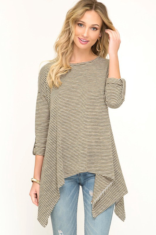 Hunter/Wht Stripe  3/4 Slv Top w Long Sides