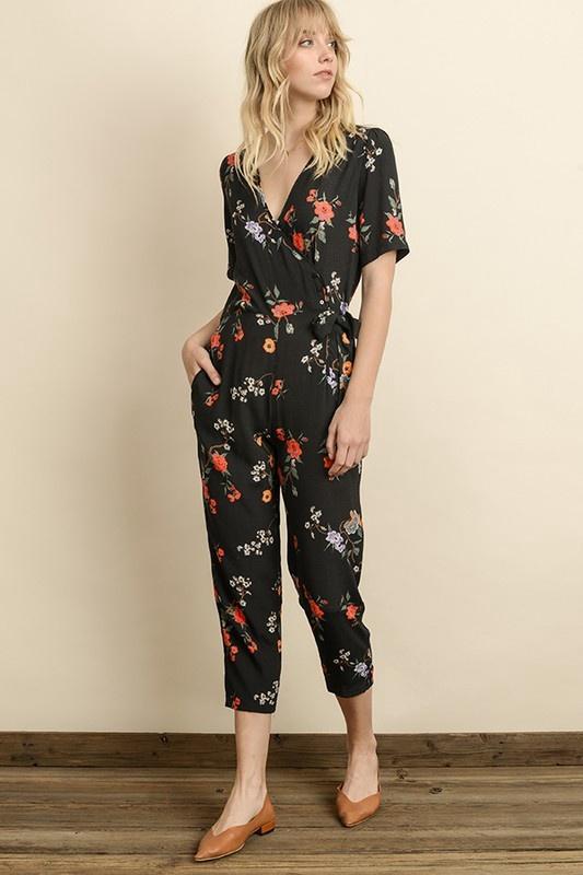 Black Floral S/S Wrap Front Jumpsuit