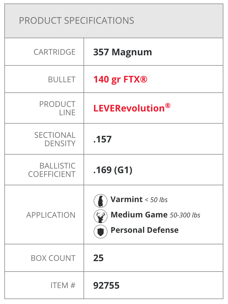 Hornady LEVERevolution FTX  357 Magnum 140gr