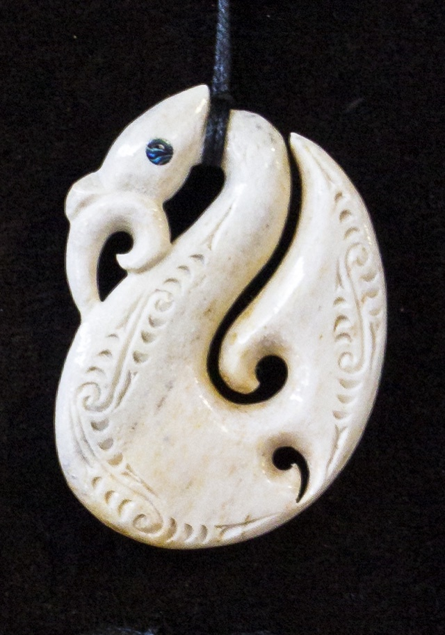 Manaia Matau and Koru (Paua Inset Eyes and Carved Details on Both Sides) 850x60mm