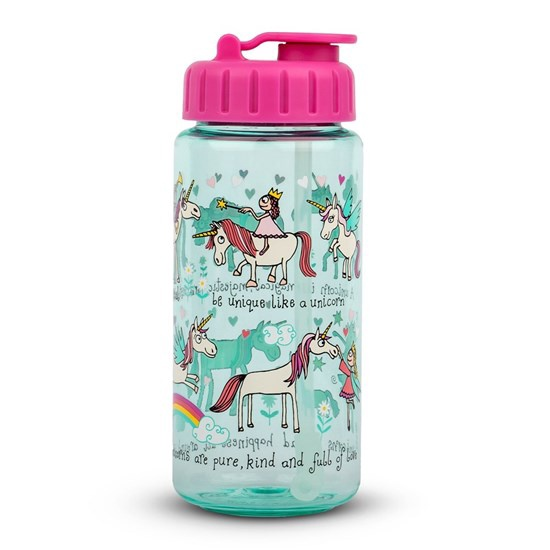 DRINKING BOTTLE WITH STRAW UNICORNS