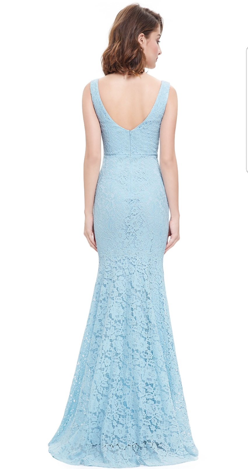 1463a18928d Floor Length Gown - Baby Blue Lace Mermaid Maxi Dress