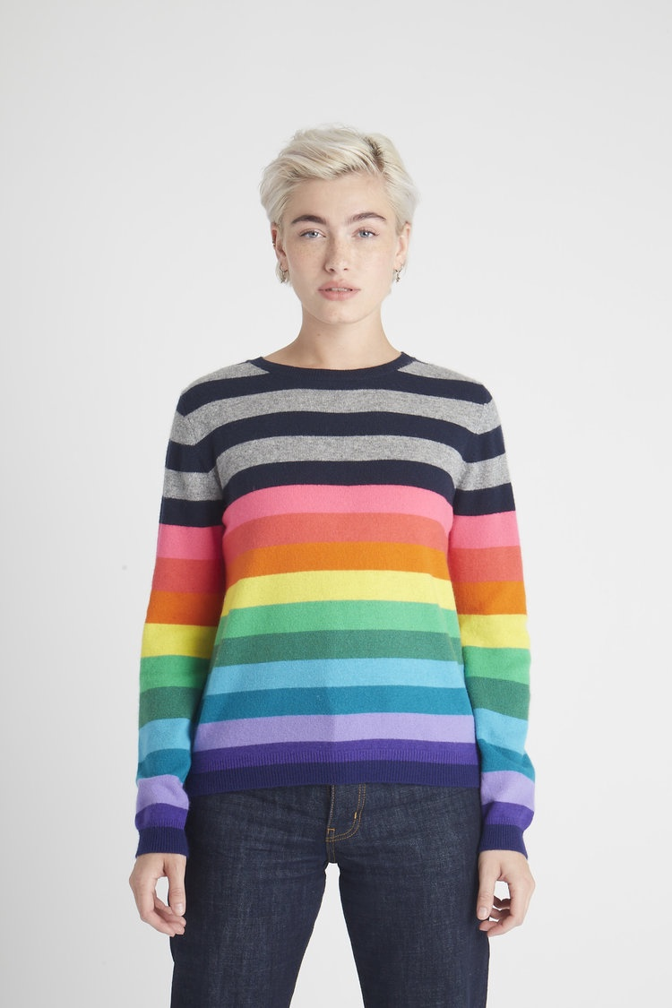 Multi Stripe Cashmere Crew Jumper